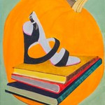 Shoe on Books with Pumpkin