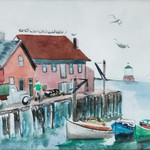 Dock in Maine with Boats and Gulls