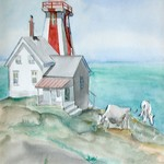 Lighthouse with Cows