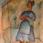 Woman with Apron and Hand Towel